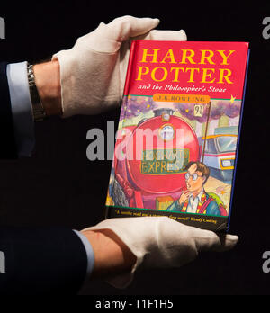 Bonhams Knightsbridge, London, UK. 25 March 2019. Rare first edition Harry Potter and the Philosopher's Stone by JK Rowling, sale preview. - Stock Photo