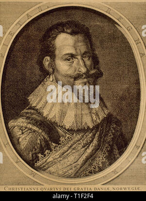 Christian IV (1577-1648). King of Denmark and Norway. Engraving by J. Hondius. - Stock Photo