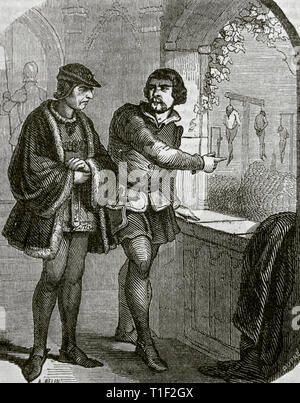 Louis XI, so-called the Prudent (1423-1483). King of France. House of Valois. Louis XI at the Castle of Plessis-les-Tours. Engraving by Dupre, 1851. - Stock Photo