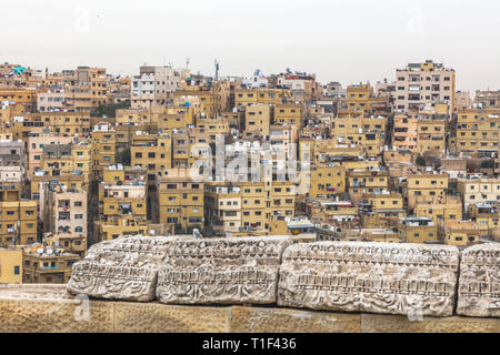 Typical view of the old city of Amman in Jordan, seen from the citadel atop Jabal Al Qal'a Stock Photo