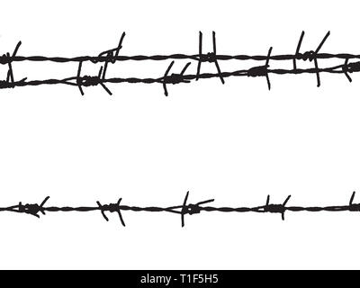 Old and rusty barbed wire on the fence - Stock Photo