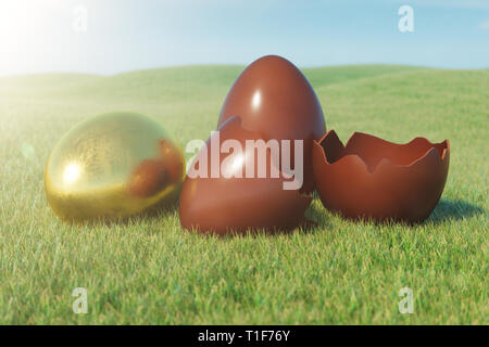 Gold and chocolate eggs in a meadow on a sunny day against the blue sky. Easter eggs on grass, lawn. Concept easter eggs hunt in sunday. Easter symbol - Stock Photo
