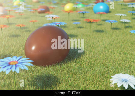 Chocolate eggs in a meadow on a sunny day against the blue sky. Easter eggs on grass, lawn. Concept easter eggs hunt in sunday. Easter symbol holiday  - Stock Photo