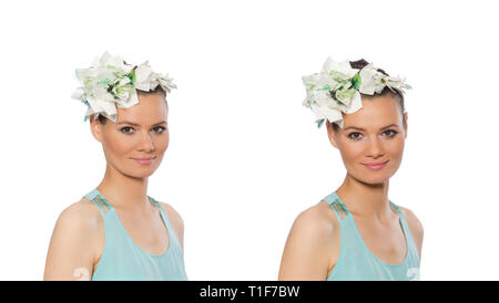 Portrait of young woman on white - Stock Photo