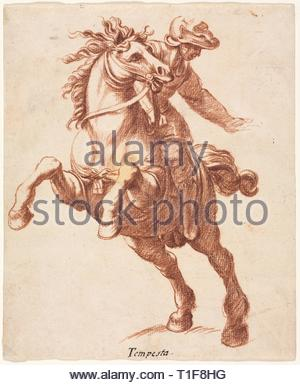 Rearing Horse and Rider, c. 1600?. Attributed to Antonio Tempesta (Italian, 1555-1630). Red chalk; sheet: 20.6 x 17.1 cm (8 1/8 x 6 3/4 in.). - Stock Photo