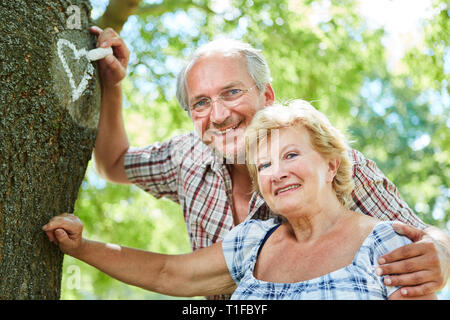 Amorous couple of seniors paints a heart of chalk on a tree - Stock Photo