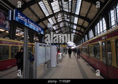 Inside the Friedrichstrasse train station in berlin Germany - Stock Photo