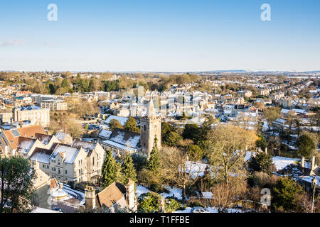 A view looking across a snowy Georgian Bradford on Avon in the sun Wiltshire, UK - Stock Photo