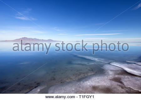 Bonneville Salt Flats covered with water in winter time near Great Salt Lake, Utah - Stock Photo