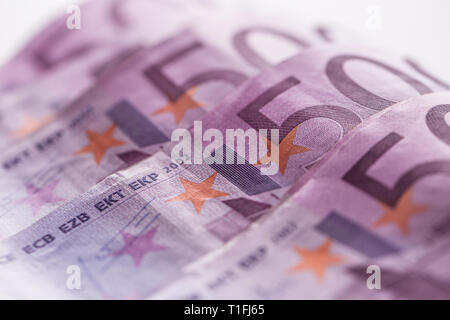 Close-up five houndred euro banknotes money and currency - Stock Photo