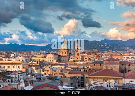 Palermo at sunset, Sicily, Italy - Stock Photo