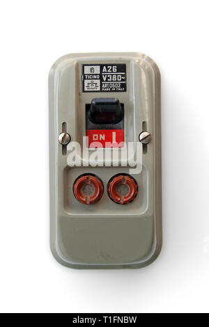 Vintage safety switch with fuses, isolated on white background, close-up - Stock Photo