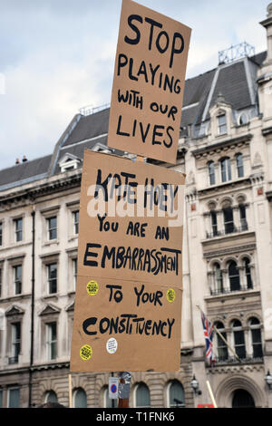 Put it to the People demonstration in central London against Brexit and an appeal for a Peoples Vote on a final Deal. London UK 23 March 2019 - Stock Photo