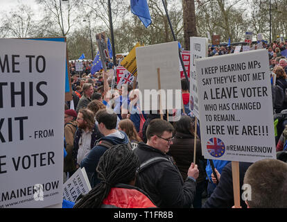 London, England, UK. 23rd March 2019, Remainer Protestors at Put it to the Peoples March in London, UK. Credit J Walters/Alamy Live News - Stock Photo