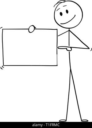 Cartoon stick figure drawing conceptual illustration of man or businessman holding empty sign and pointing at it, - Stock Photo