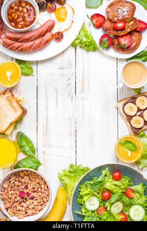 Different types of breakfast background - Stock Photo
