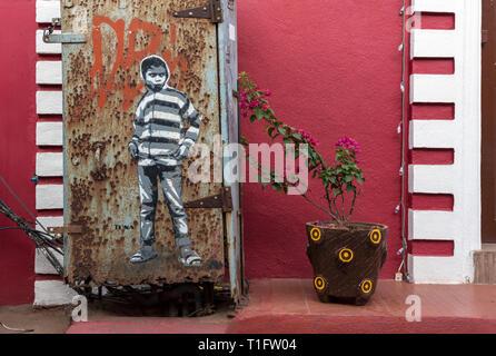 Street art and flowerpot in the colonial quarter of Fontainhas, Panaji (Panjim), Goa, India - Stock Photo