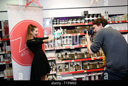 Vlogger and internet personality Zoe Suggs aka Zoella poses for a photographer in Brighton 30 October 2014 - Stock Photo