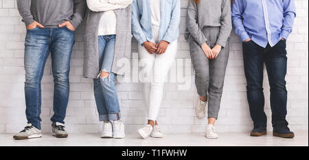 Group of people standing in row, legs or young team - Stock Photo