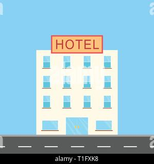 hotel illustration at side of road with many windows and one door, flat design - Stock Photo