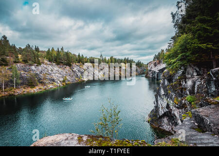 Marble quarry in Ruskeala Mountain Park, Karelia. - Stock Photo