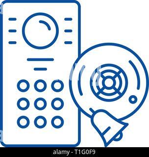 Alarm system line icon concept. Alarm system flat  vector symbol, sign, outline illustration. - Stock Photo