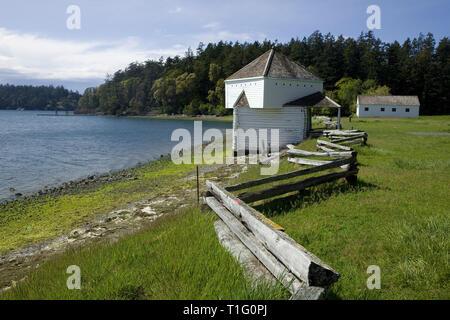 WA05455-00...WASHINGTON - English Camp on Garrison Bay in San Juan Island National Historic Park - San Juan Island. - Stock Photo