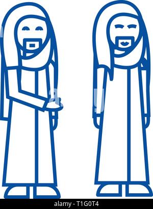 Arabic businessman line icon concept. Arabic businessman flat  vector symbol, sign, outline illustration. - Stock Photo