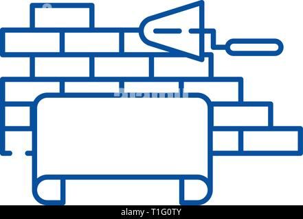 Architectural supervision line icon concept. Architectural supervision flat  vector symbol, sign, outline illustration. - Stock Photo