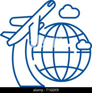 Around the world line icon concept. Around the world flat  vector symbol, sign, outline illustration. - Stock Photo