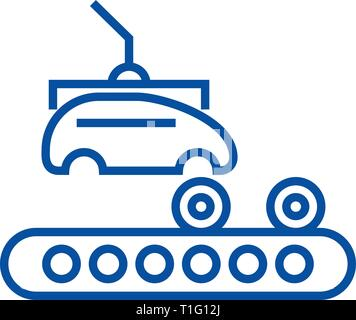Assembly car, conveyor line icon concept. Assembly car, conveyor flat  vector symbol, sign, outline illustration. - Stock Photo