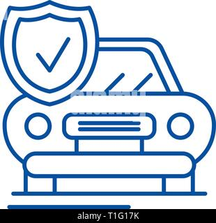 Auto insurance line icon concept. Auto insurance flat  vector symbol, sign, outline illustration. - Stock Photo