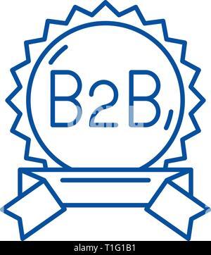 B2b line icon concept. B2b flat  vector symbol, sign, outline illustration. - Stock Photo