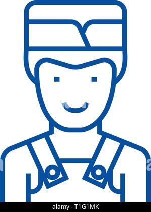 Barman line icon concept. Barman flat  vector symbol, sign, outline illustration. - Stock Photo