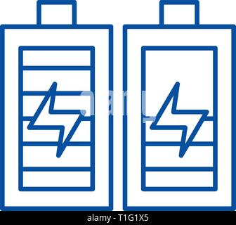 Battery charging line icon concept. Battery charging flat  vector symbol, sign, outline illustration. - Stock Photo