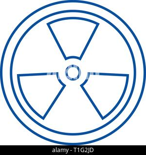 Biohazard,dangerous radiation line icon concept. Biohazard,dangerous radiation flat  vector symbol, sign, outline illustration. - Stock Photo