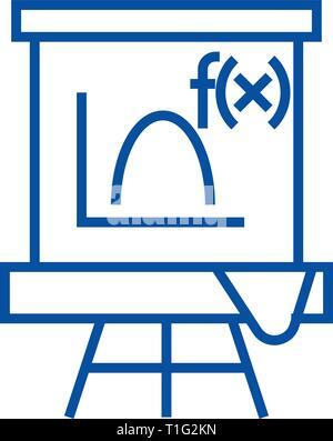 Blackboard,mathematics line icon concept. Blackboard,mathematics flat  vector symbol, sign, outline illustration.