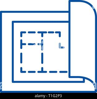 Blueprint,house plan project line icon concept. Blueprint,house plan project flat  vector symbol, sign, outline illustration. - Stock Photo