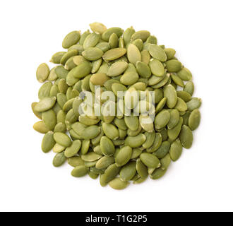Top view of  shelled pumpkin seeds isolated on white - Stock Photo