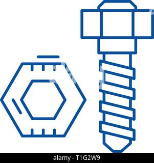 Bolt and nut line icon concept. Bolt and nut flat  vector symbol, sign, outline illustration. - Stock Photo