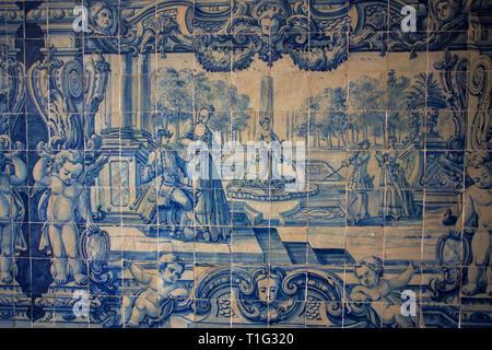 Portuguese azulejo blue tiles in Lisbon - Stock Photo