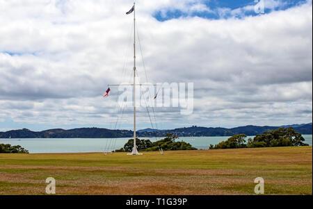 Waitangi Treaty Grounds where the Treaty of Waitangi was signed on February 6, 1840. The grounds are in North Island, New Zealand overlooking the Bay  - Stock Photo
