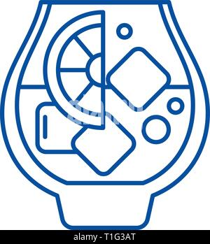 Brandy line icon concept. Brandy flat  vector symbol, sign, outline illustration. - Stock Photo
