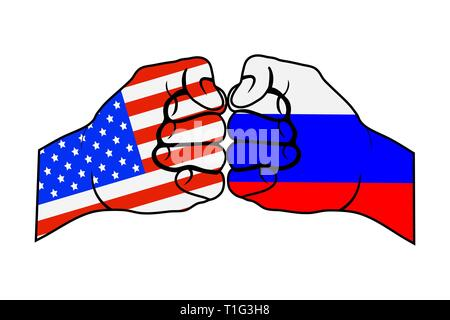 Two fists with US flag and Russia flag, flat design - Stock Photo