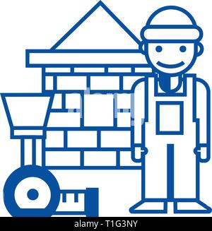 Builder,brick house,meter line icon concept. Builder,brick house,meter flat  vector symbol, sign, outline illustration. - Stock Photo
