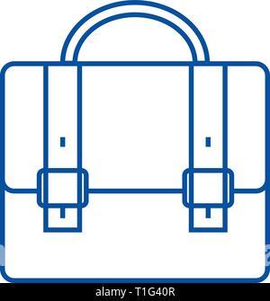 Business case,portfolio line icon concept. Business case,portfolio flat  vector symbol, sign, outline illustration. - Stock Photo