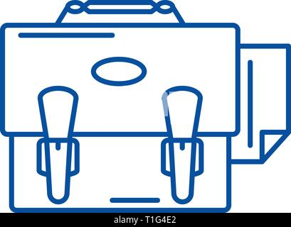 Business portfolio line icon concept. Business portfolio flat  vector symbol, sign, outline illustration. - Stock Photo