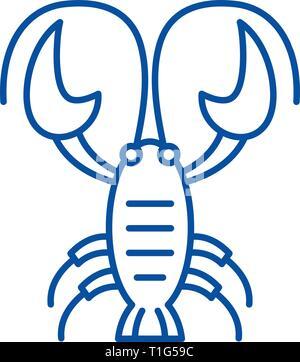 Cancer zodiac sign line icon concept. Cancer zodiac sign flat  vector symbol, sign, outline illustration. - Stock Photo