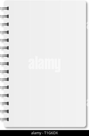 Notebook with spiral and shadow on white background - Stock Photo