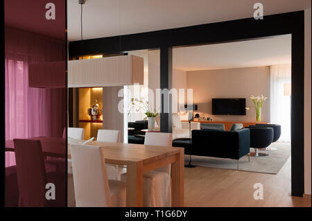 Modern dining and living area - Stock Photo